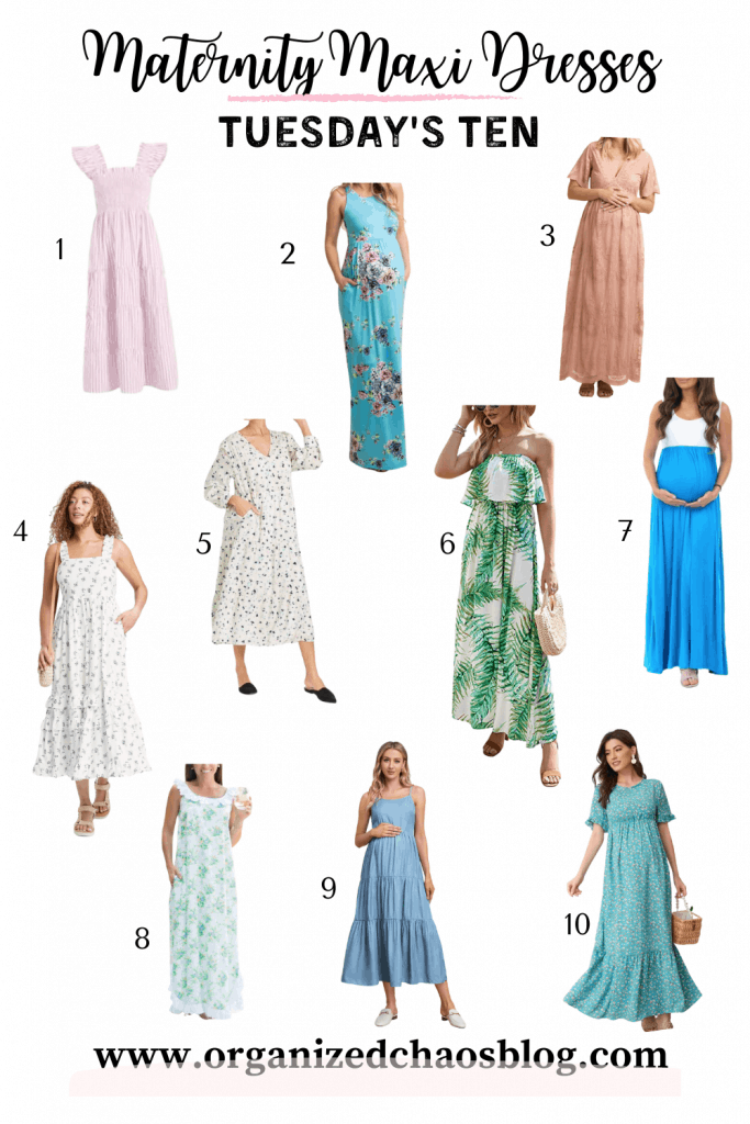 Today I'm rounding up my 10 favorite maternity maxi dresses. All of these dresses would work for postpartum and many of them are actually normal dresses that anyone could wear…I just sized up in them to fit the bump. In this Louisiana heat, I live in maxi dresses during the spring and summer. That is especially true now that I am 6 months pregnant. A maxi is cute, cool, and comfy…all necessities while teaching during the day and chasing my kids around outside after work.
