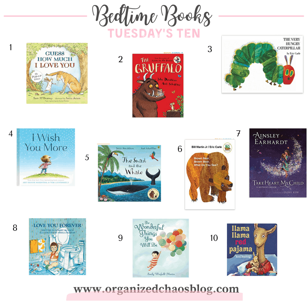 Bedtime Books for kids- collage of our 10 favorite books.