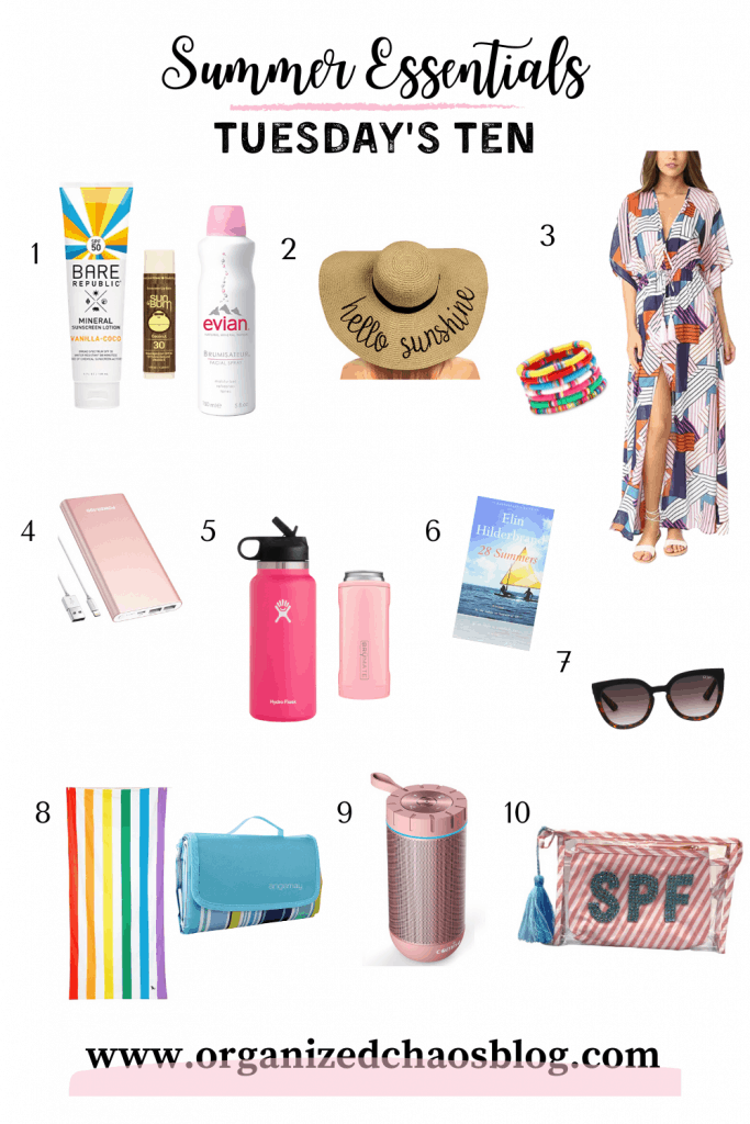 Oh, sweet summertime! It's finally that time of year again. School is out and we're spending as much time as possible at the beach or by the pool soaking up the sun. There are a few summer essentials that I always like to have in my beach or pool bag, so for today's Tuesday's Ten, I'm sharing my favorites.
