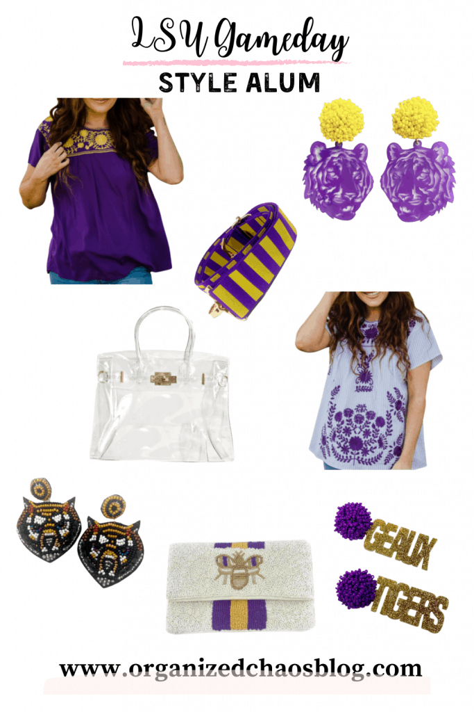 First up, are these items from Style Alum, an online shop I found this year that is stocked with the cutest college game day pieces. They have a great selection of LSU pieces as well as many other colleges. Here are a few of my favorites, including the shirt and earrings that they sent me to try.